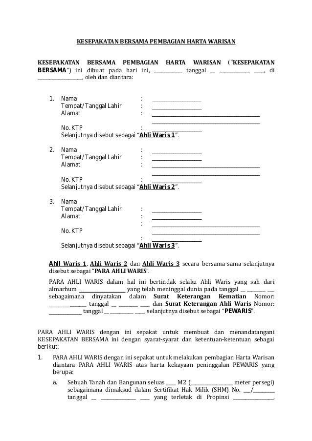 contoh surat pernyataan harta gono gini kimcil i