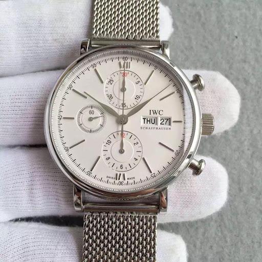 3A Factory Replica IWC Portofino Valjoux 7750 Chrono Watch with Mesh Bracelet