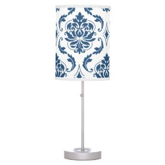 Nautical Navy Blue White Vintage Damask Pattern Lamps