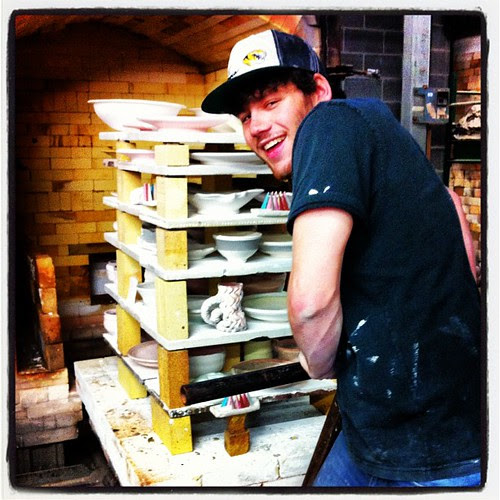 Shane closing the kiln... And then it wouldn't turn on :(