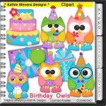 Birthday Owls Clipart - CU