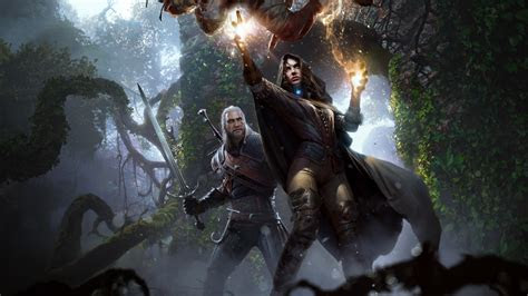 wallpaper  witcher  wild hunt yennefer geralt
