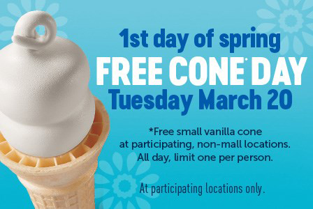 FREE Dairy Queen Cone Day on March 20 - Hunt4Freebies