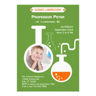 Mad Scientist Birthday Party Photo Invitation