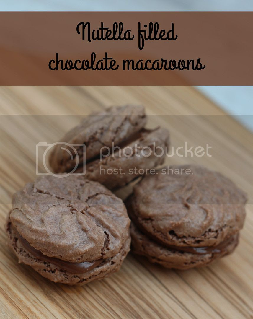 nutella filled chocolate macaroons