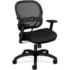 basyx by HON HVL712 - Chair - task - armrests - T-shaped - tilt - swivel - plastic, nylon, mesh, woven, molded resin, sandwich mesh - black