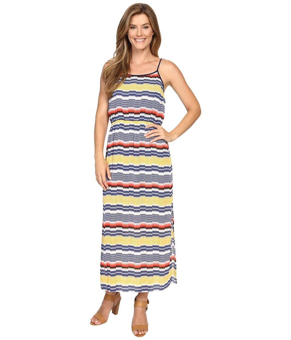 Vince Camuto - Elastic Waist Jagged Stripe Maxi Dress (Gold Charm) Women's Dress