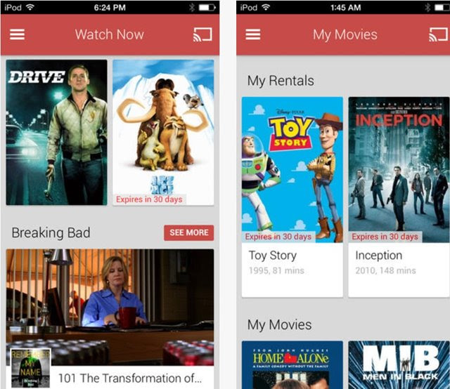 Aplicativo Google Play Movies & TV chega ao iOS