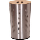 Household Essentials Round Metal Laundry Hamper with Wood Lid - Stainless Steel