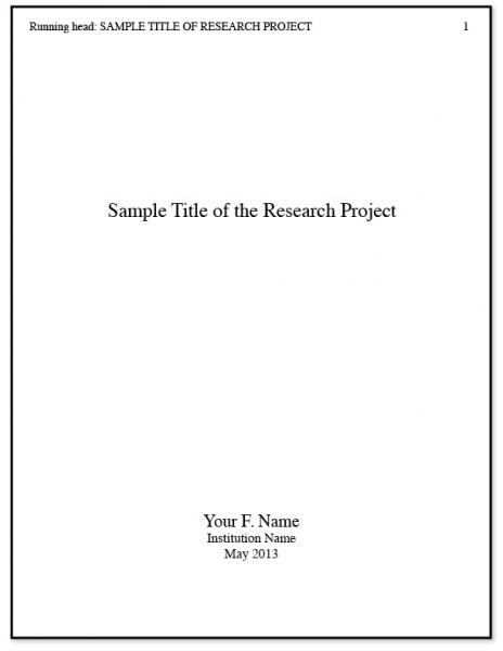 Title page for a scientific research paper