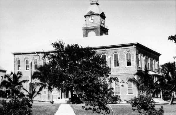 Rear view of the county court house on Whitehead Street, Key West, Florida.