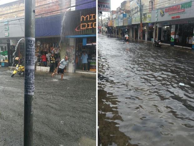 Com forte chuva em Fortaleza, água esconde calçada na Rua Pedro Pereira, no Centro (Foto: Eliene Victor/Arquivo Pessoal)
