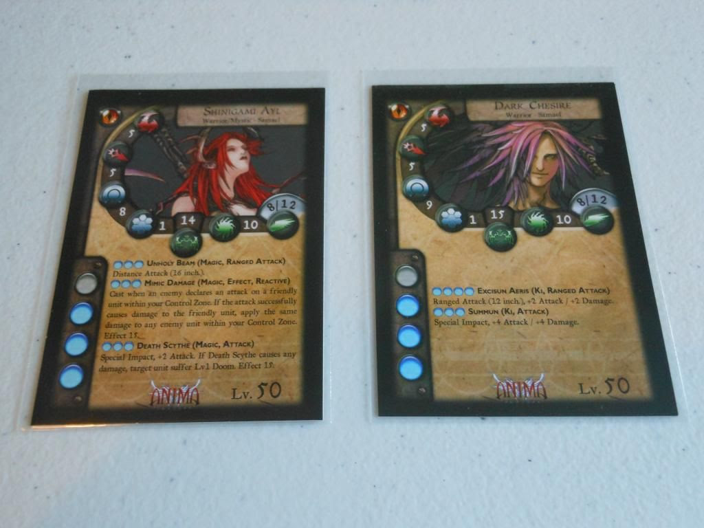 Character cards for Anima Tactics dark starter