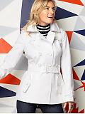 Women: Cotton short trenchcoat - White