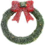 """16"""" Lighted Tinsel Green Wreath with Bow Christmas Window Decoration by Christmas Central"""