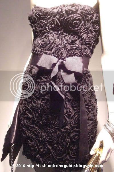 black strapless rosette dress