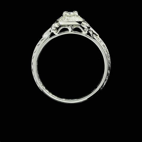 Round Diamond Fleur De Lis Halo Engagement Ring at 1stdibs