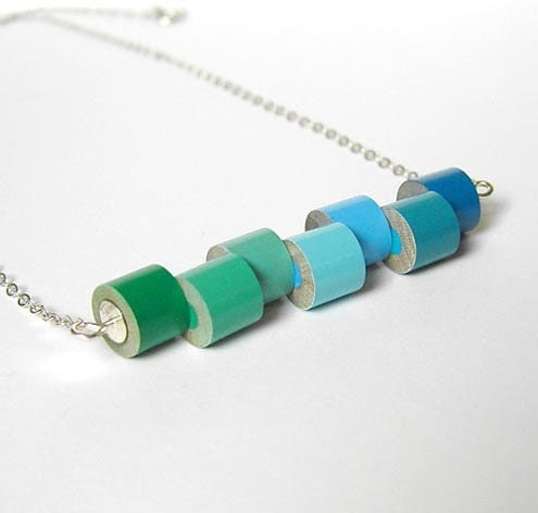 Sterling silver color pencil necklace, color collection - winter No. 1, the green and blue series