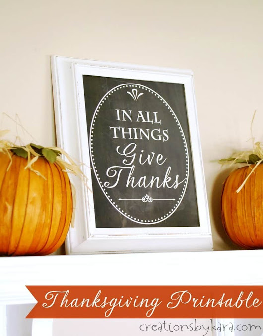Give Thanks Chalkboard Printable - Creations by Kara