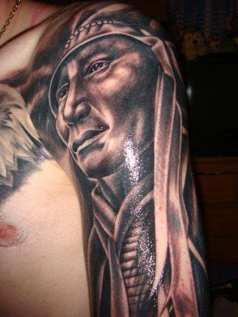 Realistic Indian Tattoo On Left Half Sleeve For Men