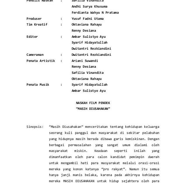 Naskah Drama Film Singkat - Contoh Sur