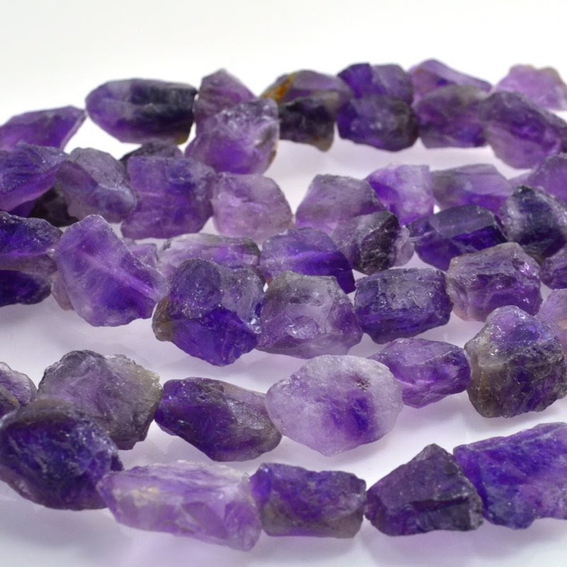 s19570 Stone Beads -  Rough Chunks - Amethyst (1)