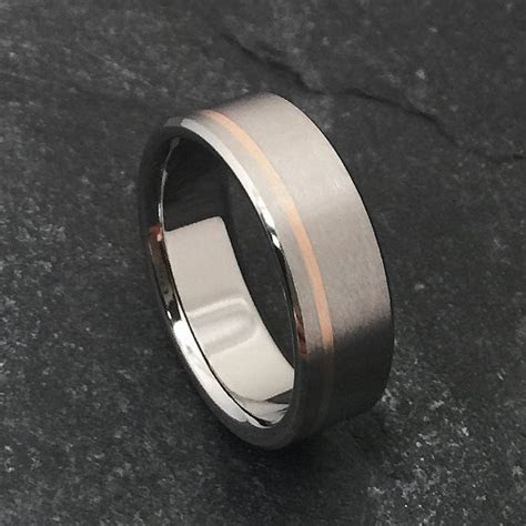 Rose Gold and Titanium Ring in a Flat Profile, Yellow Rose