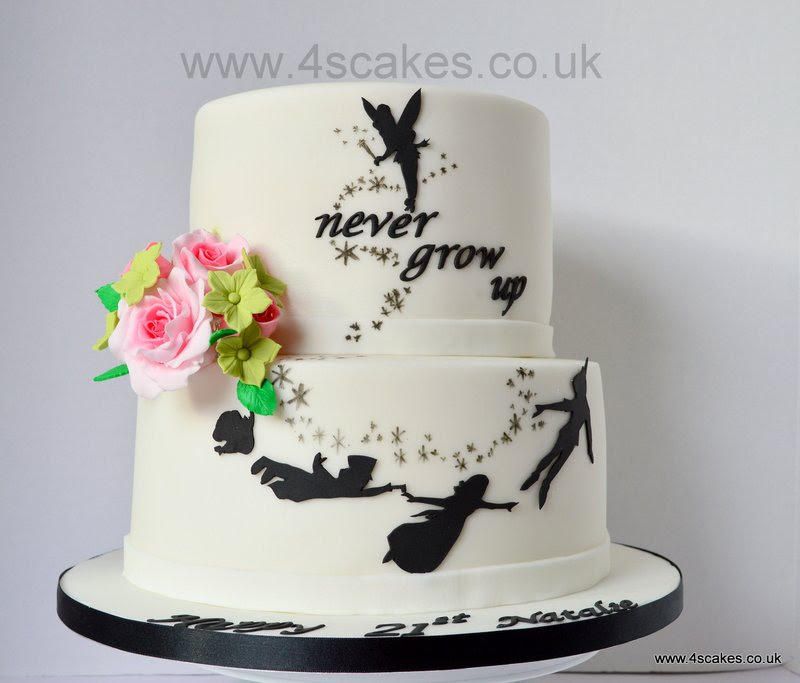 Never Grow Up Peter Pan Theme Cake With Pink Roses 4s Cakes