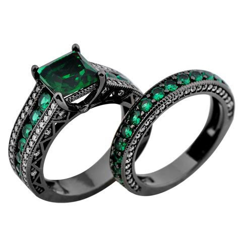 Green Emerald Engagement Set Ring Womens 10Kt Black Gold