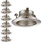 TORCHSTAR 6 Pack 4 Inch Recessed Can Light Trim with Satin Nickel Metal Step Baffle, for 4 inch Recessed Can