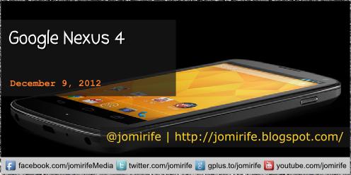 Blog post: Google Nexus 4 (tech specifications)