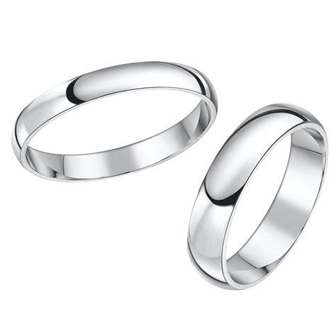 His & Hers White Gold Wedding Rings, Matching Sets For