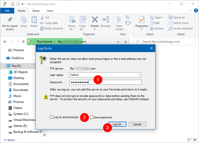 Ingresando el nombre de usuario y la contraseña para una cuenta FTP en Windows 10