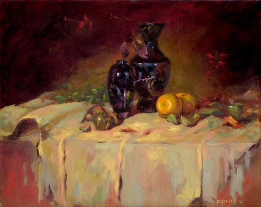 "Clementines and Leaves Still life painting Oil on 20"" x 16"" wrapped canvas"