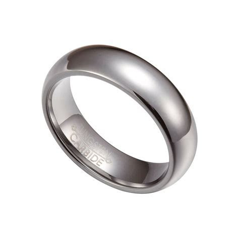 Silver Tungsten Carbide 6mm Comfort Fit Plain Rings