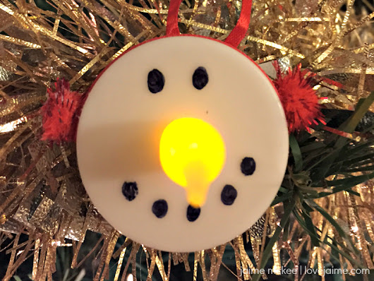 Tealight snowman ornaments - a fun (and inexpensive) craft - Love, Jaime