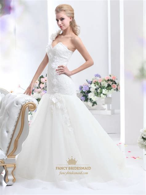 Ivory One Shoulder Flower Strap Mermaid Lace Bodice Tulle