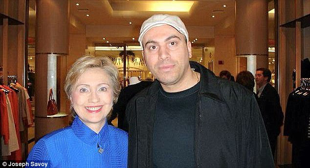 Pictured Gambino with Hillary  Clinton. Heasked for his drug kingpin father to be released early from prison in exchange for votes during the presidential primary in 2007