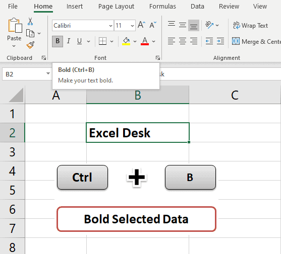 Ctrl + B - Text bold 30 Excel shortcut keys that make Excel user friendly | Learn Excel Shortcut Keys in Details