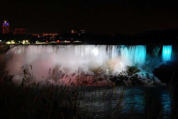 The glow of the illuminated falls
