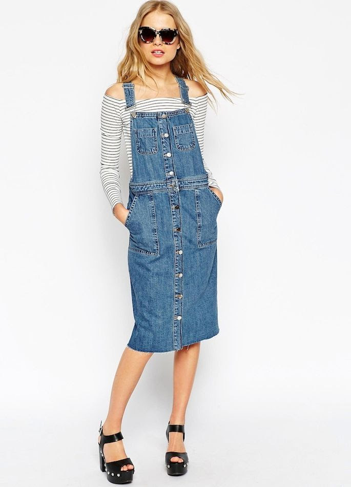 Le Fashion Blog Casual Chic Style Denim Overall Dress Raw Hem Pinafore Tort Sunglasses Off The Shoulder Striped Top Platform Sandals