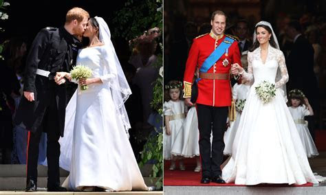 How does Meghan Markle's wedding dress compare to Kate