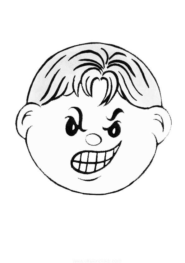 Kızgın Yüz Boyama Yazdırılabilir Boyama Sayfaları