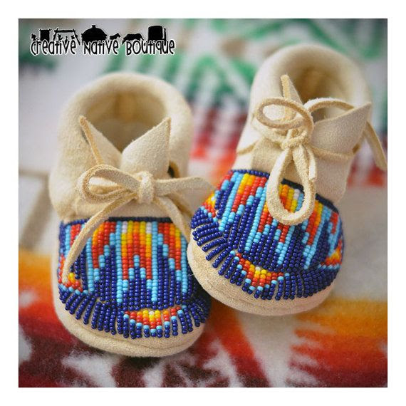 Fully Beaded Baby Moccasins size 1-2