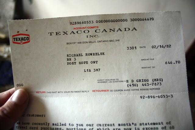 Michael Howreluk's 1982 Texaco bill