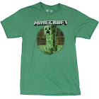 Minecraft Mens T-Shirt - Distressed Creeper Circle Logo Image (Small)