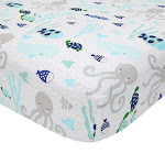 Oceania 100% Cotton Blue/Gray/White Whale with Octopus and Fish Nautical Ocean Theme Fitted Crib Sheet - Lambs & Ivy
