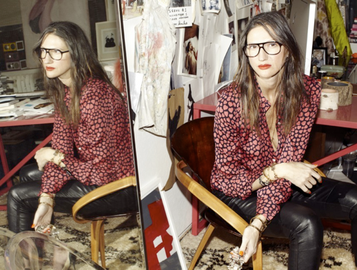 LE FASHION JENNA LYONS OFFICE JCREW INTERIOR DESIGN OFFICE INSPIRATION MAGAZINE CUT OUT COLLAGE WALL DECOR HEART PRINT BUTTON UP SHIRT LEATHER MOTO PANTS ISABEL MARANT TWO TONE CAP TOE ANKLE WRAP BLACK CREAM HEELS PUMPS BLACK AVIATOR FRAME EYEGLASSES GLASSES RED LIPSTICK TWO TONE MID CENTURY WOOD CHAIR TALL MIRROR 3 photo LEFASHIONJENNALYONSOFFICE3.png