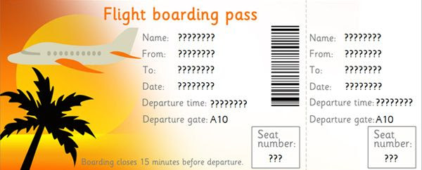 Downloadable Editable Airline Tickets   Dramatic play   Pinterest ...