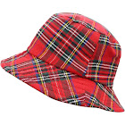 Luxury Divas Red Classic Plaid Print Bucket Hat